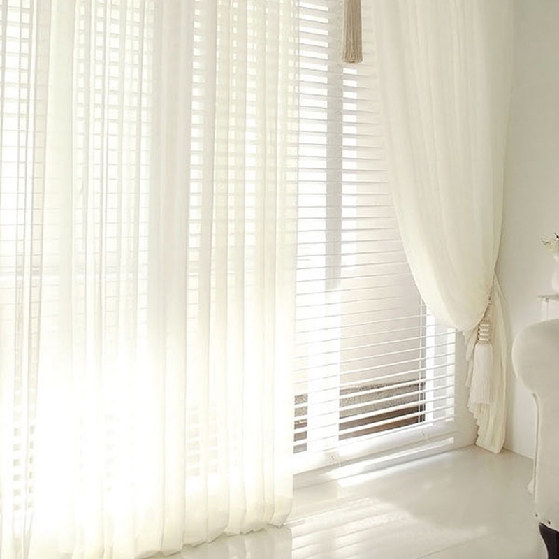 Modern Tulle Window Curtains For Living Room White Sheer
