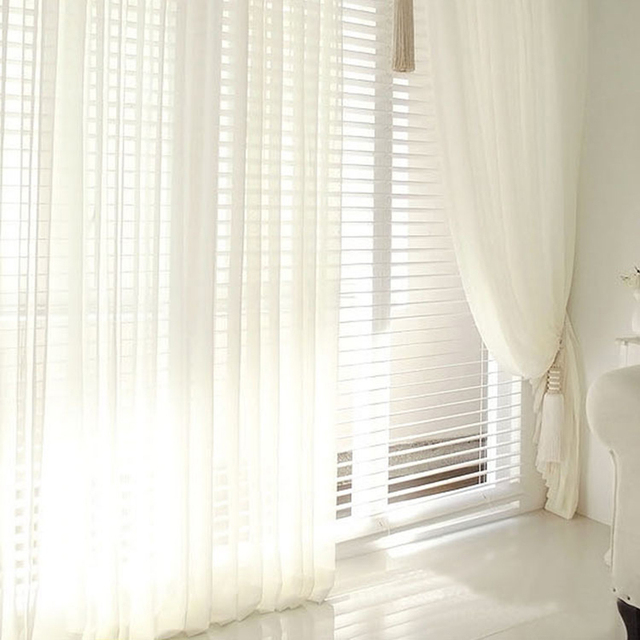 Modern Tulle Window Curtains For Living Room White Sheer Bedroom Rustic Balcony Yarn D Soft Roman Blinds
