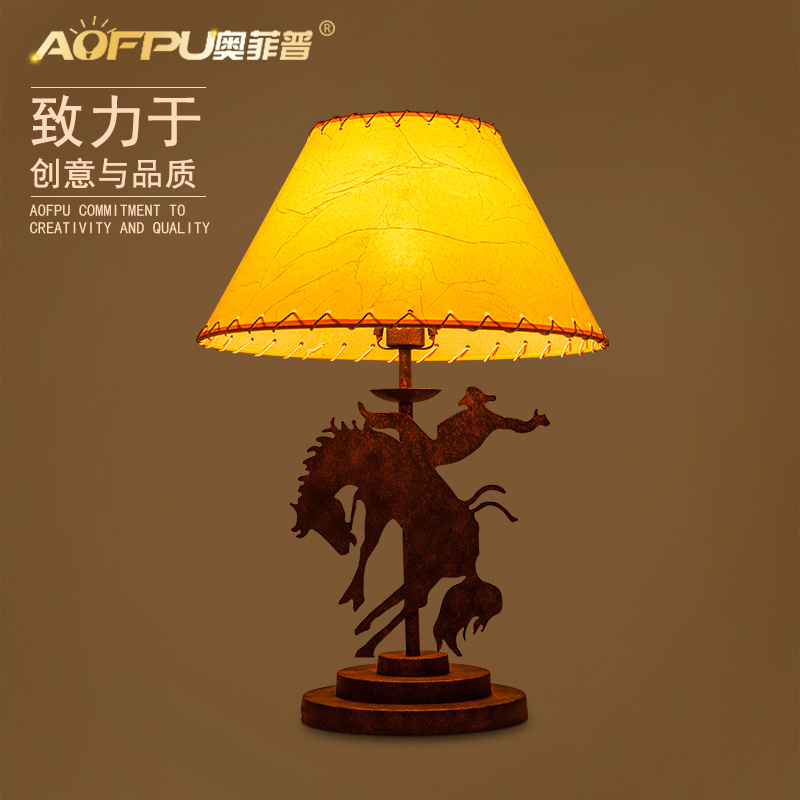 Loft Style Horse And Man Living Room Decoration Table Lamp Iron Cloth Bed Light