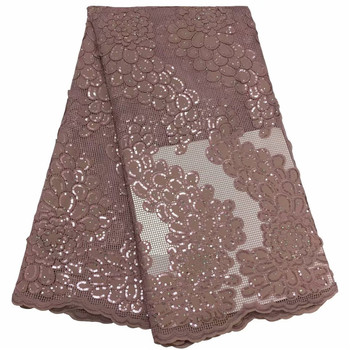 New Arrival African Lace Fabrics With Sequins 2019 Latest Fabric High Quality Tulle Stones Lace Fabric For Women Dress fc65-2007