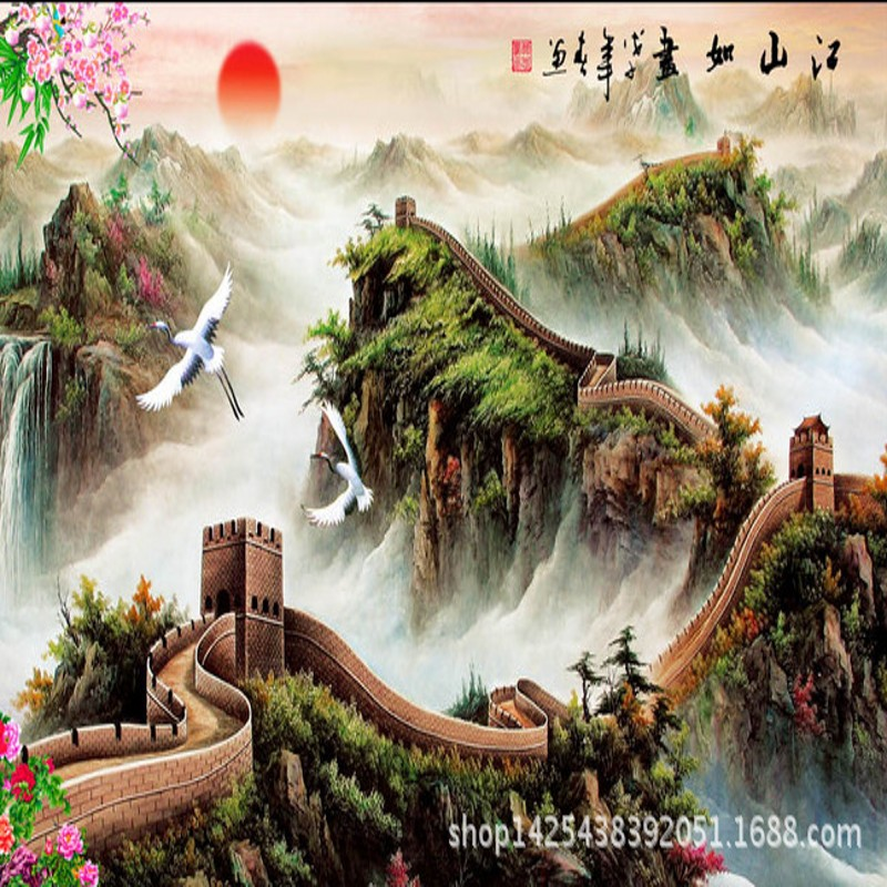 Beibehang 3d Chinese Landscape Painting Of The Great Wall TV Background Wallpaper Living Room Hotel Lobby Mural In Wallpapers From Home