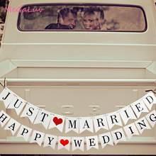 Banderole guirlande blanche en papier JUST marié | Banderole avec lettres joyeux de mariage, décor de fête prénatale, signes en accessoires pour photos de mariage, cadeaux de mariage