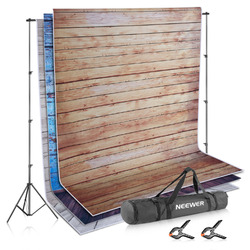 Neewer Photo Video Studio Backdrop and Support Kit: 3-Pack 1.5x2m Wooden Polyester Backdrop+2.6x3m Adjustable Support System