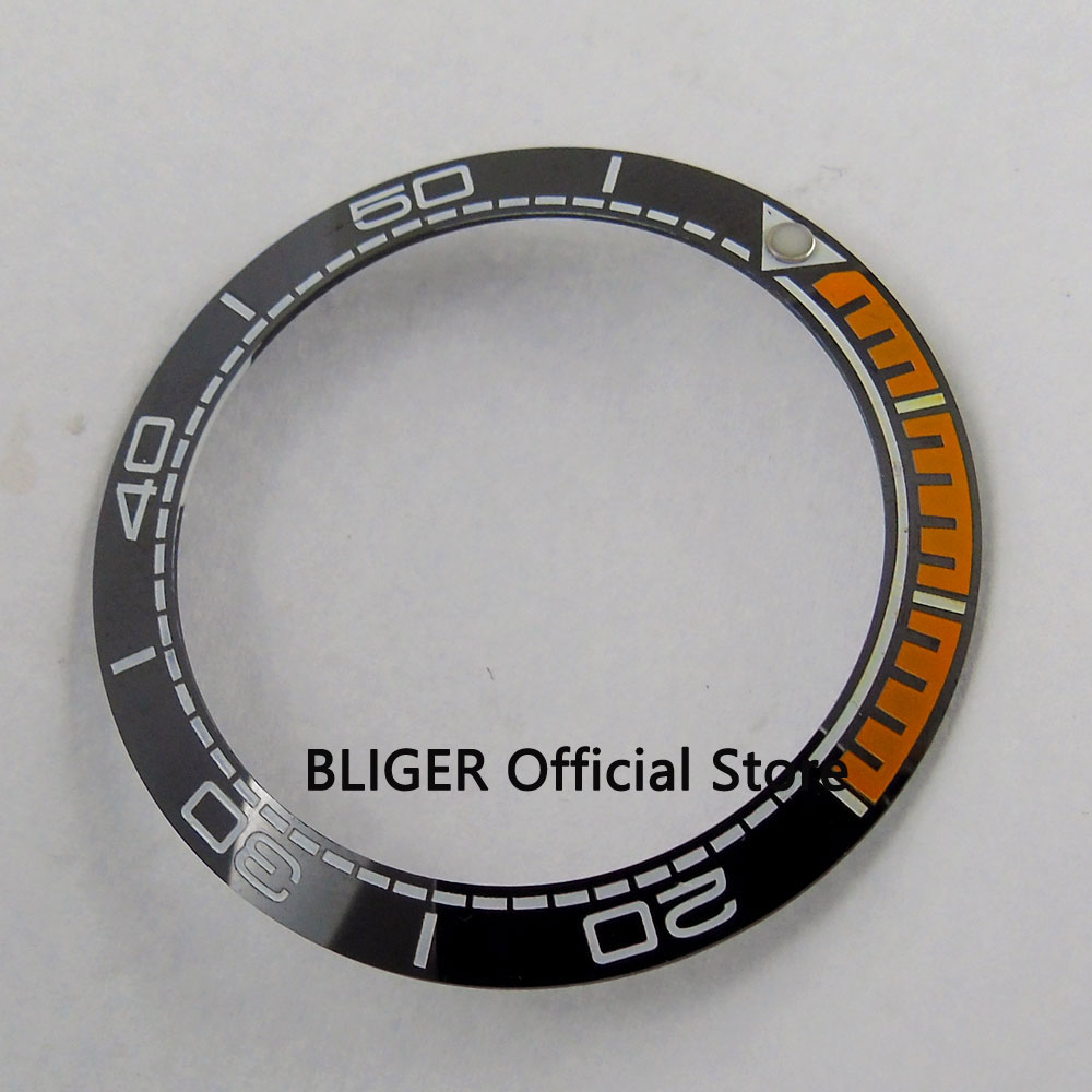 Top Quality 39.8mm Black And Orange Ceramic Bezel White Number Marks Inserts Fit Automatic Men's Watch Case Bezel BB47
