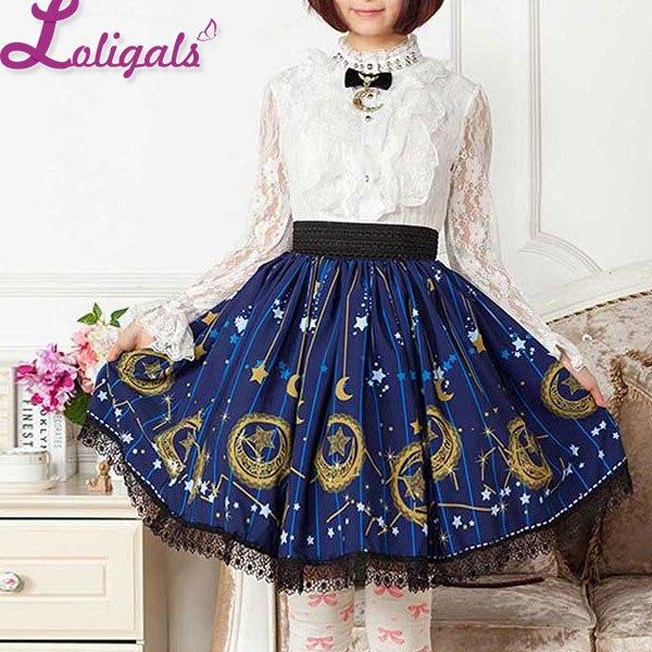 Mori Girl Blue Skater Skirt Moon and Star Printed Lady's Pleated Short Lolita Elastic Waist Skirt