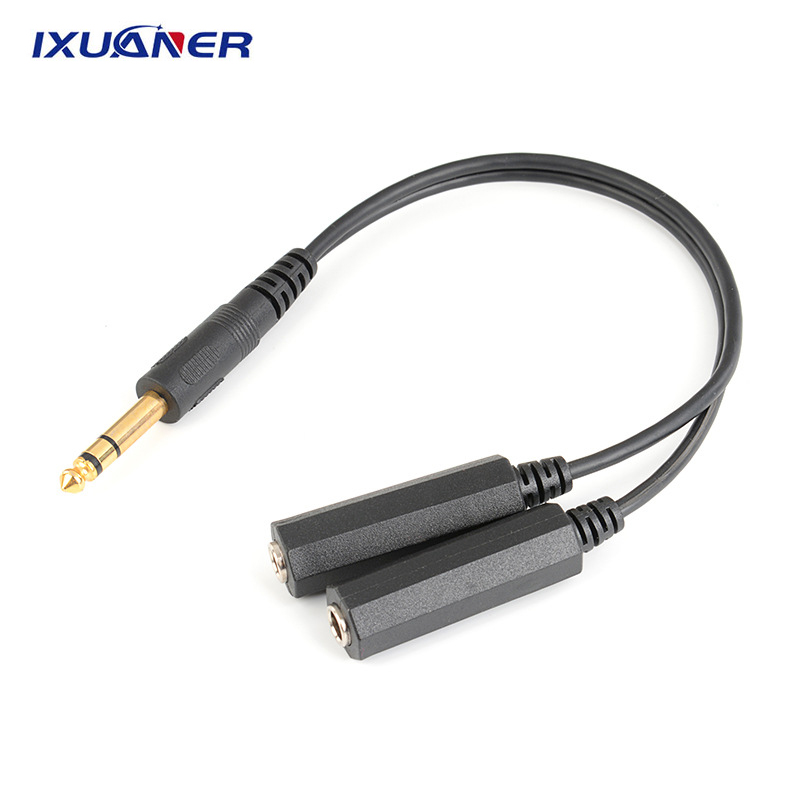 2 In 1 Gold Plating 6.35mm Male Plug Stereo To 2 Dual Female Jack Connector Audio Speaker Cable Splitter Adapter Cable Converter