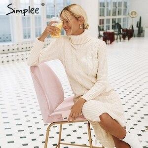 Image 2 - Simplee エレガントなサイドスプリット暖かい長袖女性ドレスタートルネックフィット秋冬のセータードレス白のドレス 2018