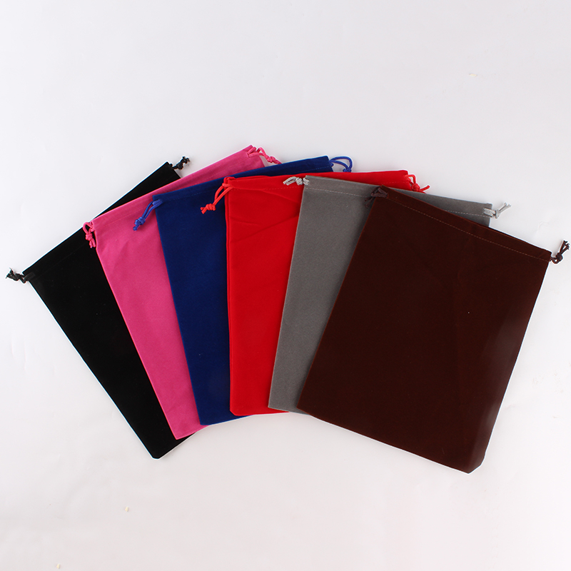 20pcs/lot 20*25cm Wholesale Price Logo Printed Large Drawstring Bags Velvet Pouch