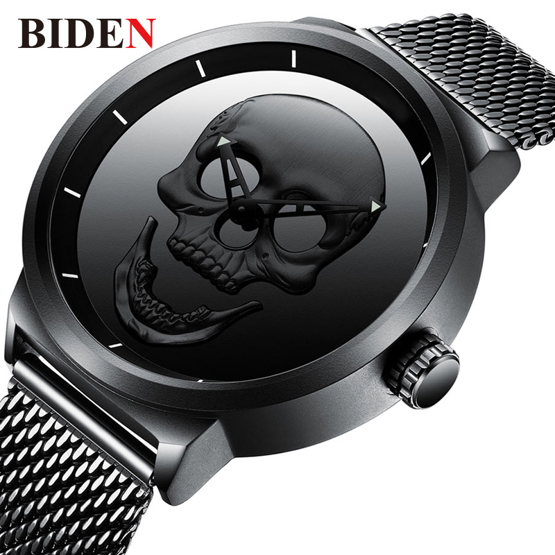 BIDEN 3D Skull Watch Men 2018 Fashion Mens Watches Top Brand Luxury Quartz Wristwatch Waterproof Stainless Steel Skeleton