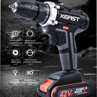 42V Electric Screwdriver Lithium Battery Rechargeable 3/8 Inch 2 Speed Multi function Cordless Electric Drill Power Tools