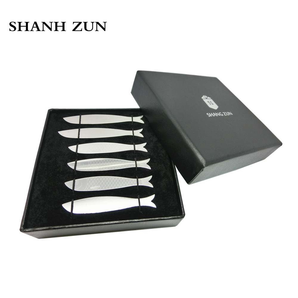 SHANH ZUN 6 Pcs Stainless Steel Unique Fish Design Shirt Collar Stiffeners / Stays 2.2/2.5 Inches- Black Presentation BoxSHANH ZUN 6 Pcs Stainless Steel Unique Fish Design Shirt Collar Stiffeners / Stays 2.2/2.5 Inches- Black Presentation Box