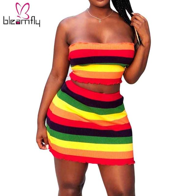 c10fd5fb8d18 2018 Summer Rainbow Striped Two Piece Set Tracksuit Women Strapless Crop  Top And Short Bodycon Mini Skirt Set Casual Outfits