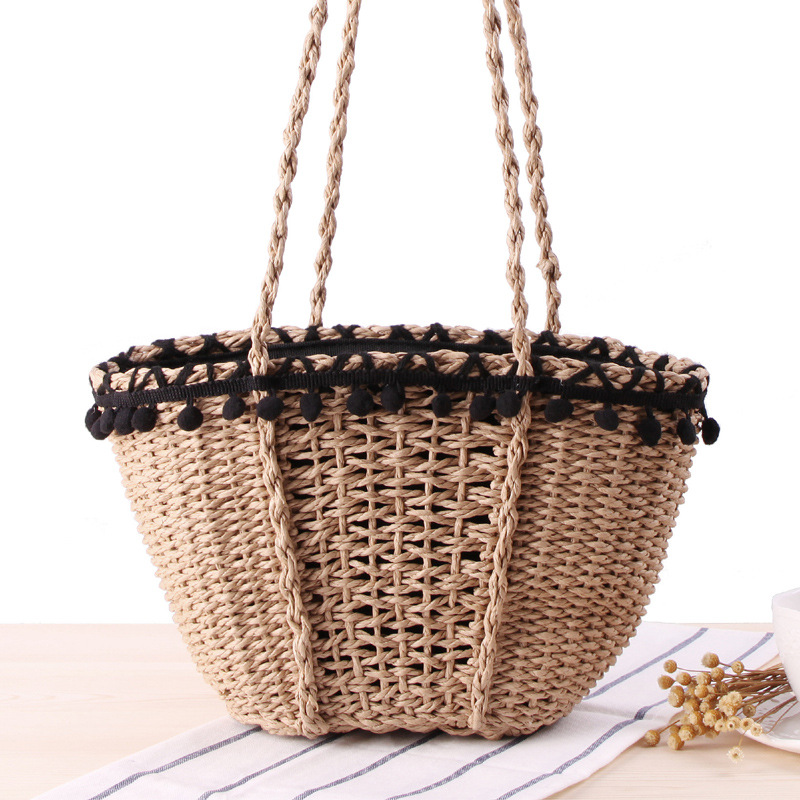 Beach Bag Summer Handmade Straw Rope Knitted Rattan Women Shoulder Bag Drawstring Basket Minimalist Small Tote Travel BohemianBeach Bag Summer Handmade Straw Rope Knitted Rattan Women Shoulder Bag Drawstring Basket Minimalist Small Tote Travel Bohemian