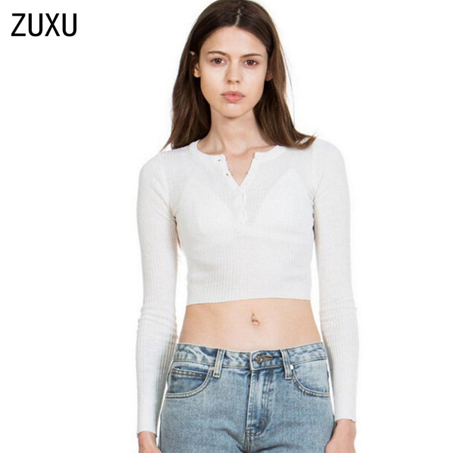2c6f20225c24ae Strentch knitted Open Button Short Sweater American brandy Melville Long  Sleeve Crop Tops Jumper Knitwear
