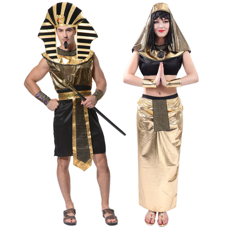 Halloween Costume For Adult Mens Egyptian Pharaoh King Clothes Egyptian Cleopatra Queen Women Clothing Cosplay Costumes