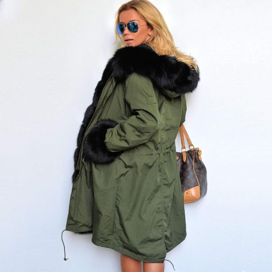 Winter Jacket Women Long Parka Faux Fur Coat Big Raccoon Fur Collar Hooded Parkas Thick Outerwear Parka Jacket Camouflage Top F1