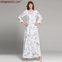 Bohemia mujeres Vestidos 2018 moda primavera flores impresión full Flare manga cintura elástica largo popular vestido blanco superior