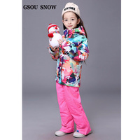 GSOU SNOW NEW Snowboardin Jacket Pants Children Boy's Waterproof Windproof Outdoor Thicken Ski Suit Set Children Snow Ski Sets