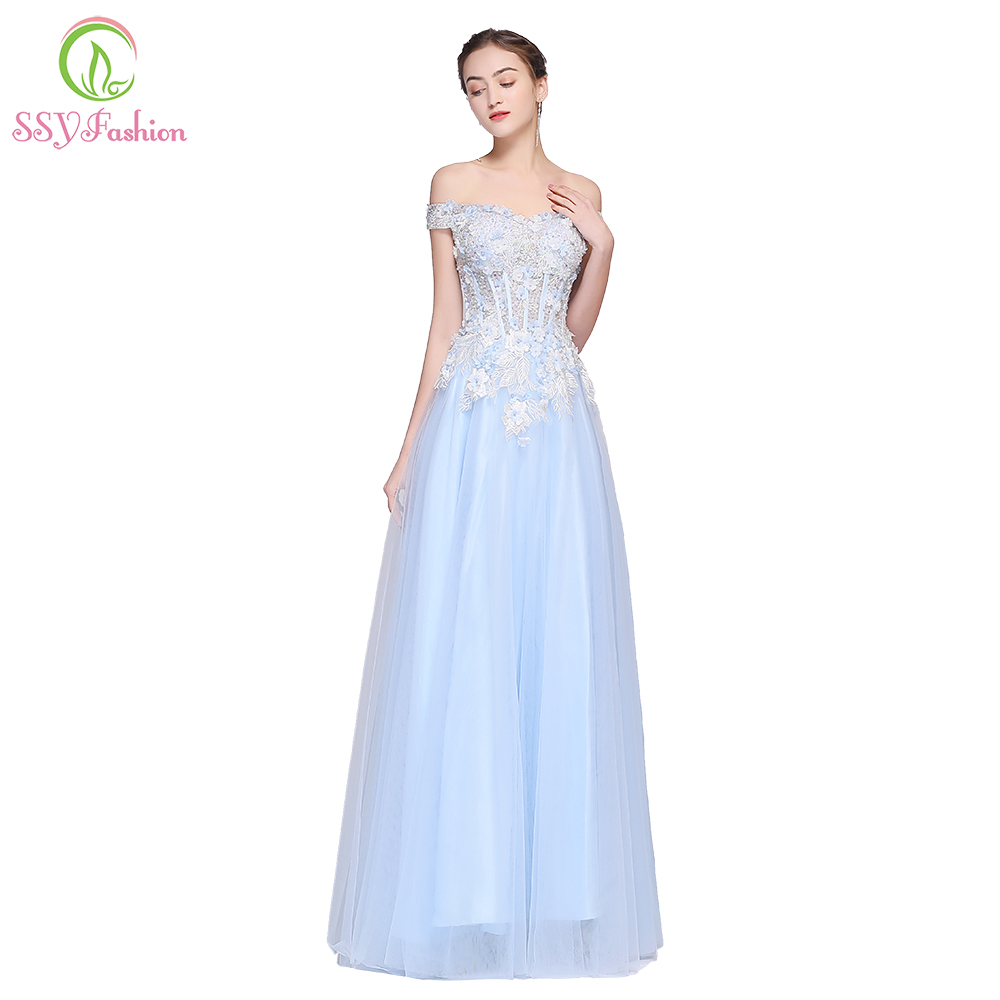 SSYFashion New High-end Light Blue Prom Dress Banquet Elegant Boat Neck  Floor-length Lace Appliques Beading Evening Party Gown 6df2f635e62c
