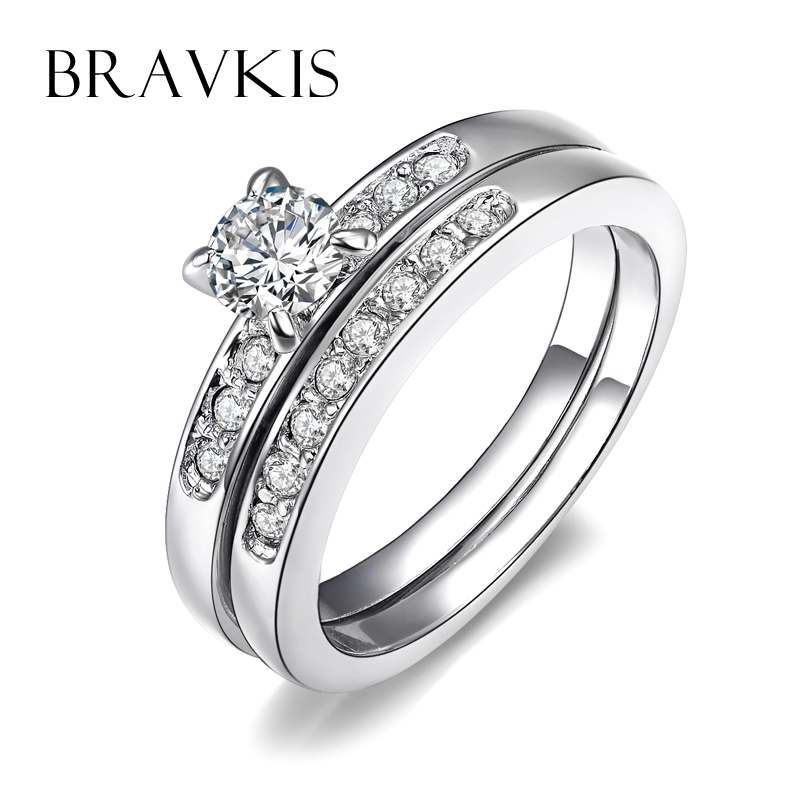 Bravekiss Austrian Crystal Bridal Double Wedding Ring Sets For Women 2 Engagement Band With Rhinestone Bjr0057b In Rings From Jewelry