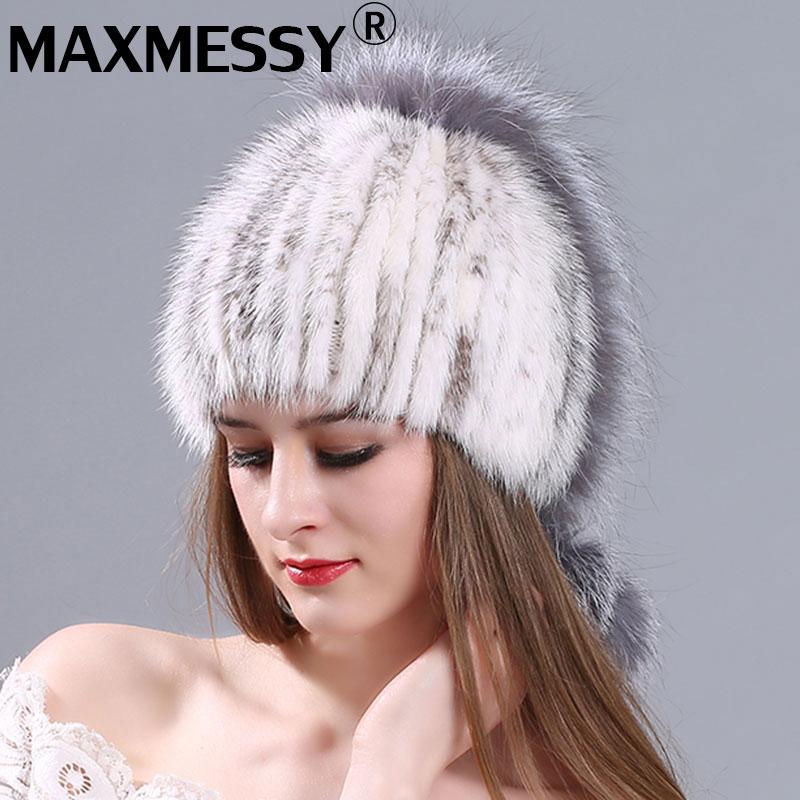 Donne visone inverno cappello di pelliccia reale del visone lavorato a maglia  pelliccia volpe d  c6244b6278b1
