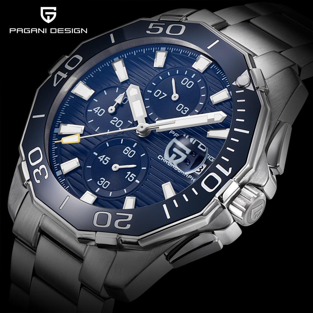 PAGANI DESIGN Brand Men s Fashion Stainless Steel Chronograph Watches Men Luxury Quartz Waterproof Watch Clock