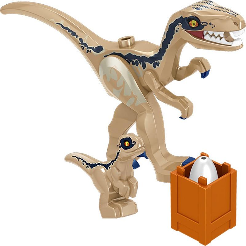 8Pcsset Legoingly Mini Big Dinosaurs Dinosaur Egg Building Blocks Jurassic Triceratops Velociraptors Lot Sets Toys for Children (9)