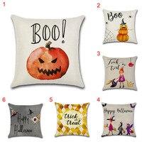 Halloween Series Cotton Linen Pumpkins Throw Pillow Case Pumpkin Witch Wizard Cushion Cover Pillow Decor 45cmx45cmJ2Y