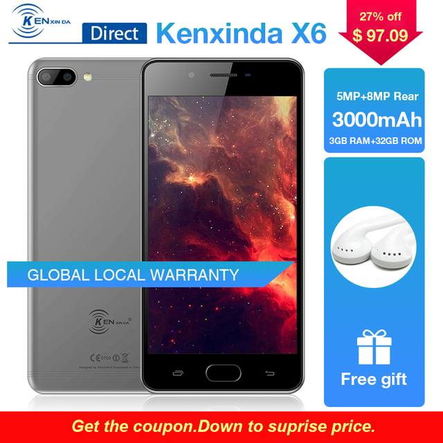 "Kenxinda X6 5.0"" Smartphone 3GB+32GB ROM 13MP+8MP HD Rear Cameras 4G Android7.0 MTK6737 CPU Fingerprint Mobile Phone Cell Phone"