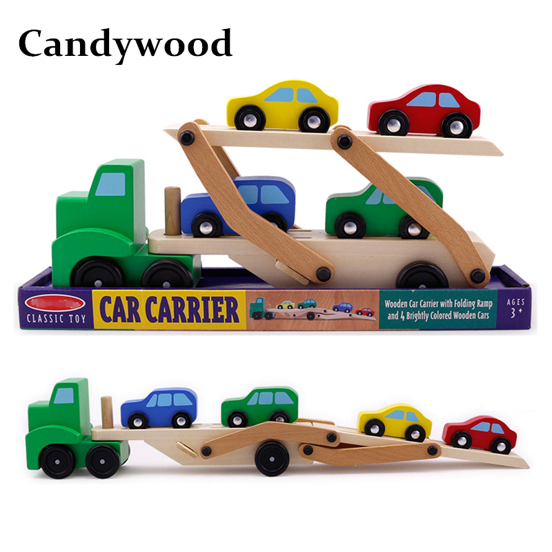 купить Candywood Wooden Car Toy Vehicle Truck Cars Loader Trailer Excavator Playsets Kids Boy Wooden Classic Model Toys for Children по цене 1893.01 рублей