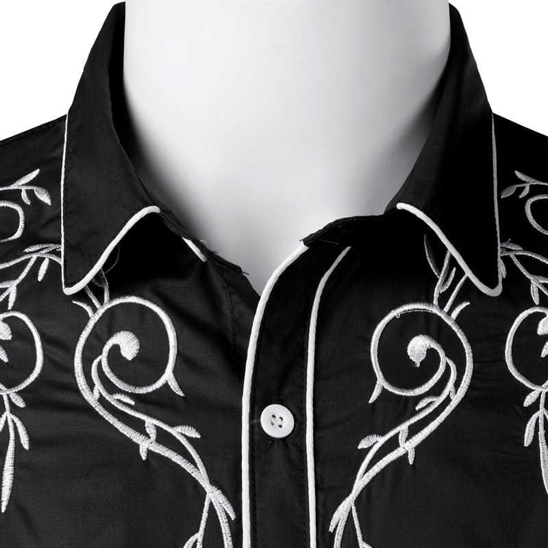 Élégant Western Cowboy chemise hommes marque Design broderie Slim Fit décontracté à manches longues chemises hommes de fête de mariage chemise pour homme