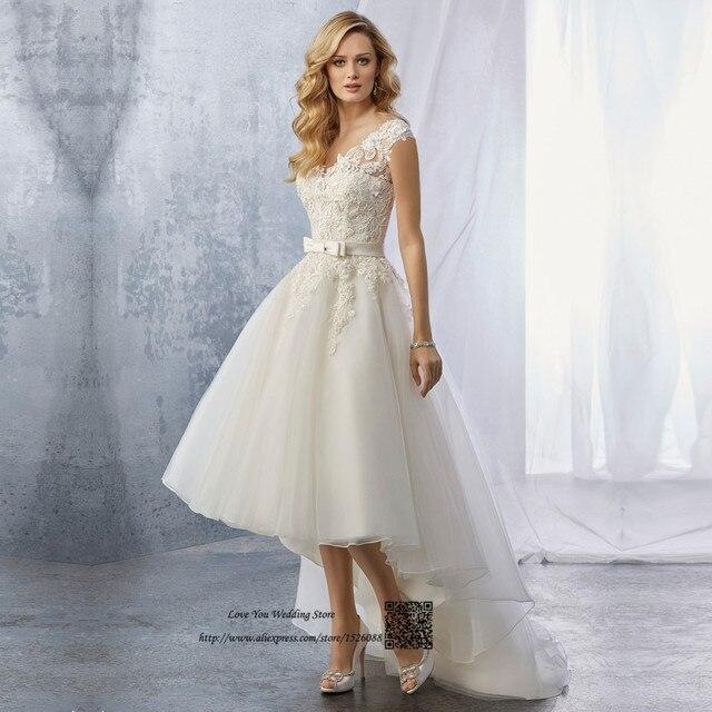 57945528f07 Korean High Low Wedding Dresses Short Front Long Back Lace Bride Dress 2017 Custom  Made Wedding Gowns V Back Vestido de Novia