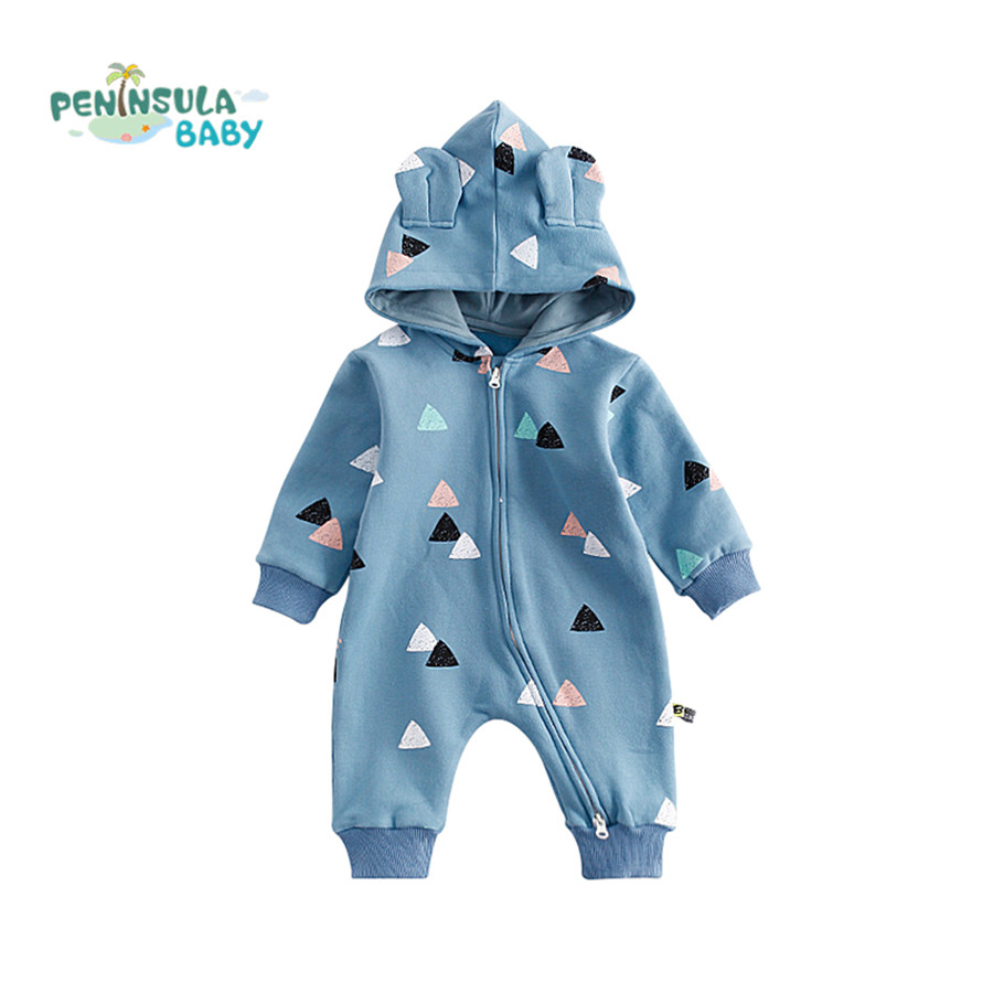 Baby Rompers Autumn Winter Warm Clothes Newborn Boys Girls Romper Cartoon Long Sleeve Jumpsuits Overalls Infant Hooded Outwear winter newborn bear jumpsuit patchwork long sleeve baby rompers clothes baby boys jumpsuits infant girls clothing overall