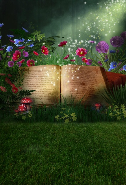 US $7 66  Laeacco Fairytale Magic Book Flowers Grassland Baby Newborn  Photography Backgrounds Vinyl Custom Backdrops For Photo Studio-in  Background