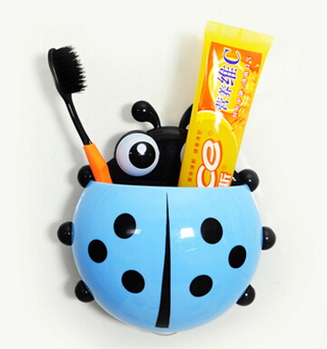 Lovely leading-star Bathroom Set Cartoon Sucker Toothbrush Ladybug Wall Suction Hook Holder-Green Red Blue Yellow image