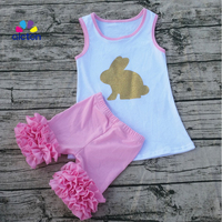 Newest Cotton Bunny Baby Ester Day Solid Outfit Girls SUMMER Short Clothes Sleeveless Boutique