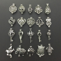 20pcs Antique Silver Small Pearl Beads Cage Pendant Locket Heart Owl Animal Shape Essential Oil Diffuser