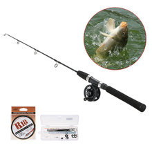High Quality Fishing Reel Rod Combo Set Portable Ice Fishing Rod +reel +100m Fishing Line Pesca Fishing Accessories Tackle Kit