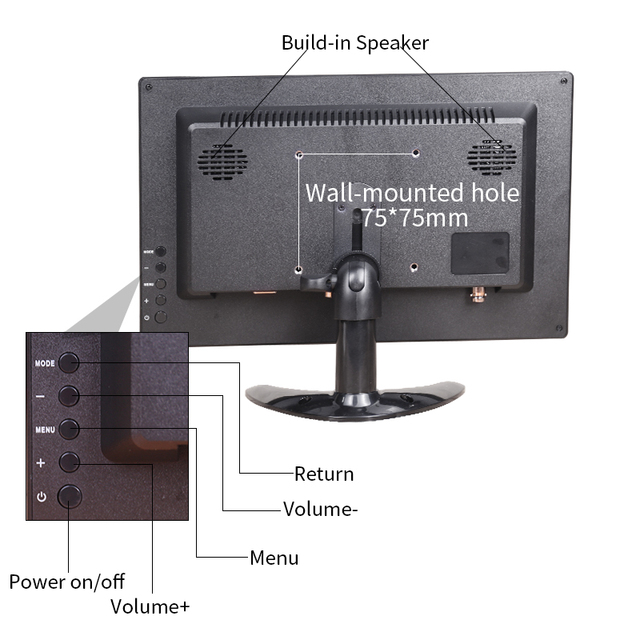"""12"""" LCD Portable HDMI Monitor pc ips for Macbook Pro VGA Interface 1920x1080 5"""