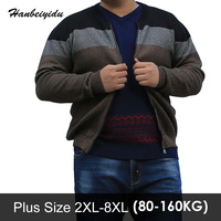Winter Casual Plus Size Mens Stripe Sweaters Zipper Long Sleeve Round Neck Cardigans Sweater For Man