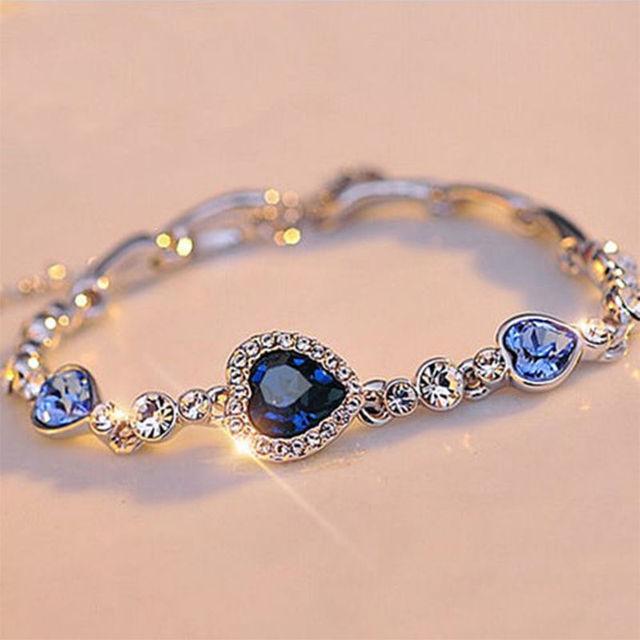 1 pcs Fashion Women Ocean Blue Crystal Heart Bangle Bracelet Exquisite  Wedding Party Bracelet For Women 8a00da5fe111