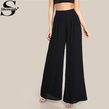 Sheinside Black Box Pleated Wide Leg Pants 2017 Autumn Mid Waist Zipper Fly Elegant Trousers Women's Work Wear Casual Pants(China)