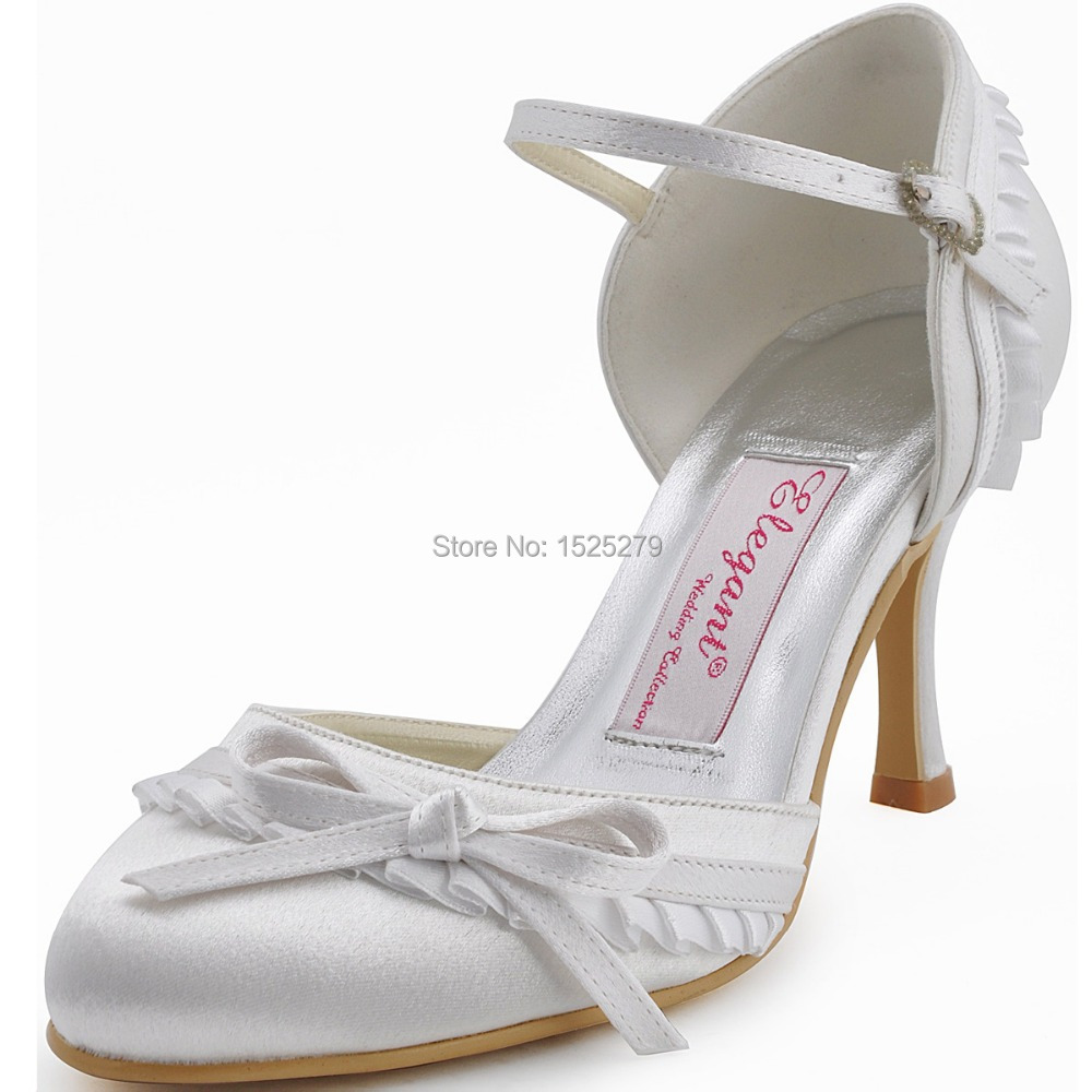 EP11070 White Red Ivory Women Mary-jane High Heels 3'' Bridal Party Pumps Bow Ruffled Satin Buckles Wedding Bride Dress Shoes