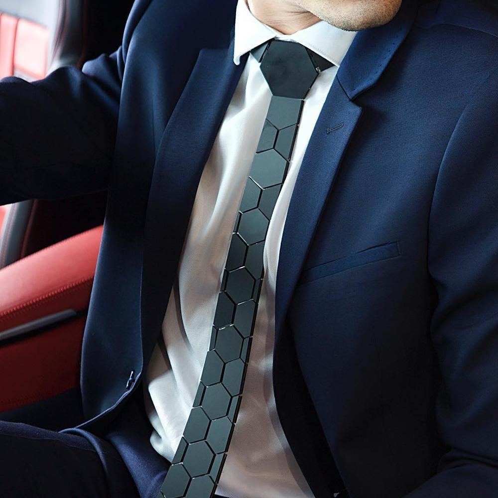 Chic noir mat hexagone cravates élégant hommes cravates 5 couleurs luxe Hexties 5cm boîte-cadeau robe formelle accessoire Design Unique