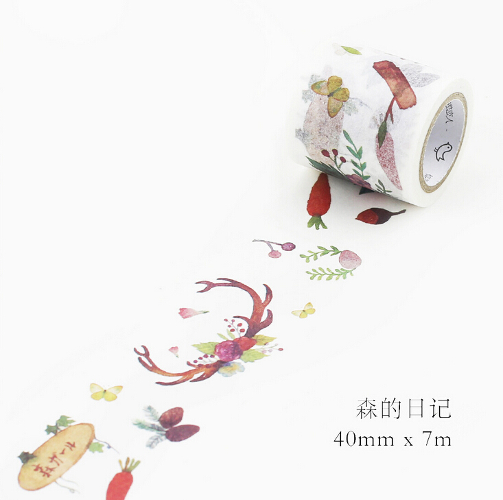 JE116  4cm Wide Beautiful Forest Washi Tape Adhesive Tape DIY Scrapbooking Sticker Label Masking Tape