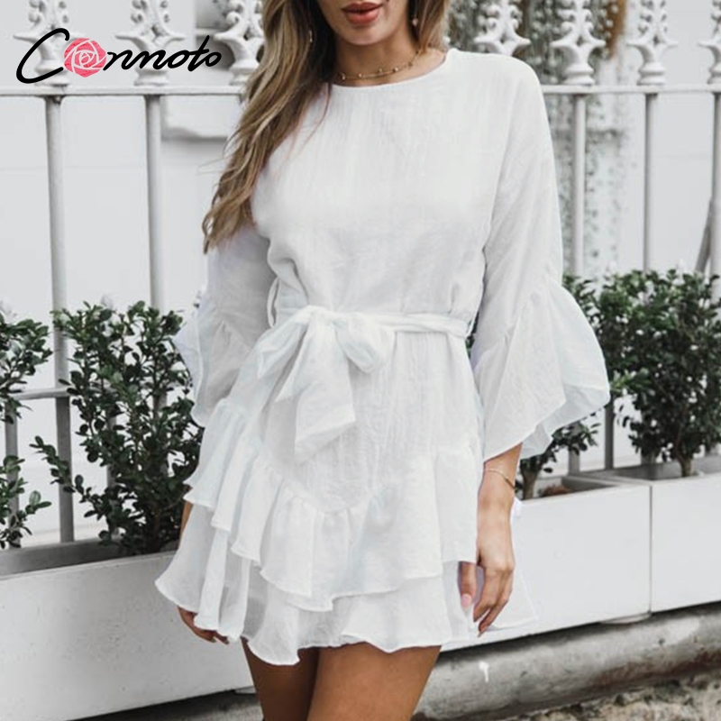 Conmoto длинный рукав-раструб белый платье Короткое женское платье с бантом осенне-зимние вечерние платья с оборками для вечерних платьев