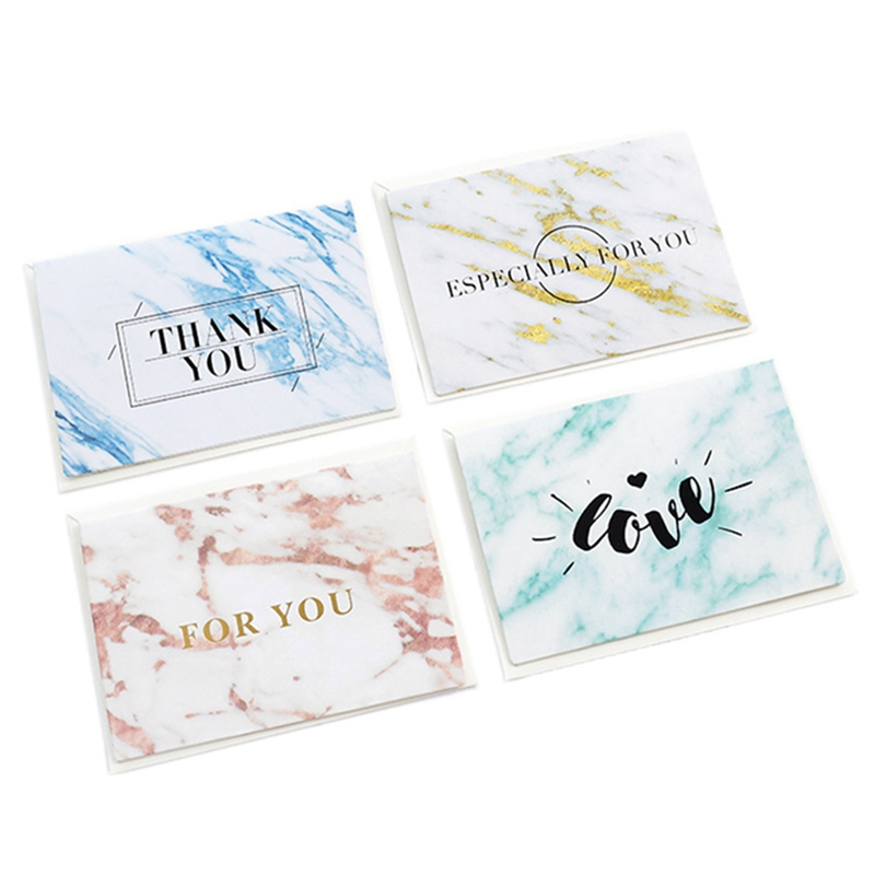 2 Set Marble Retro Valentine's Day Greeting Card New Year Card Business Folding Greeting Cards Hot Stamping Cards image
