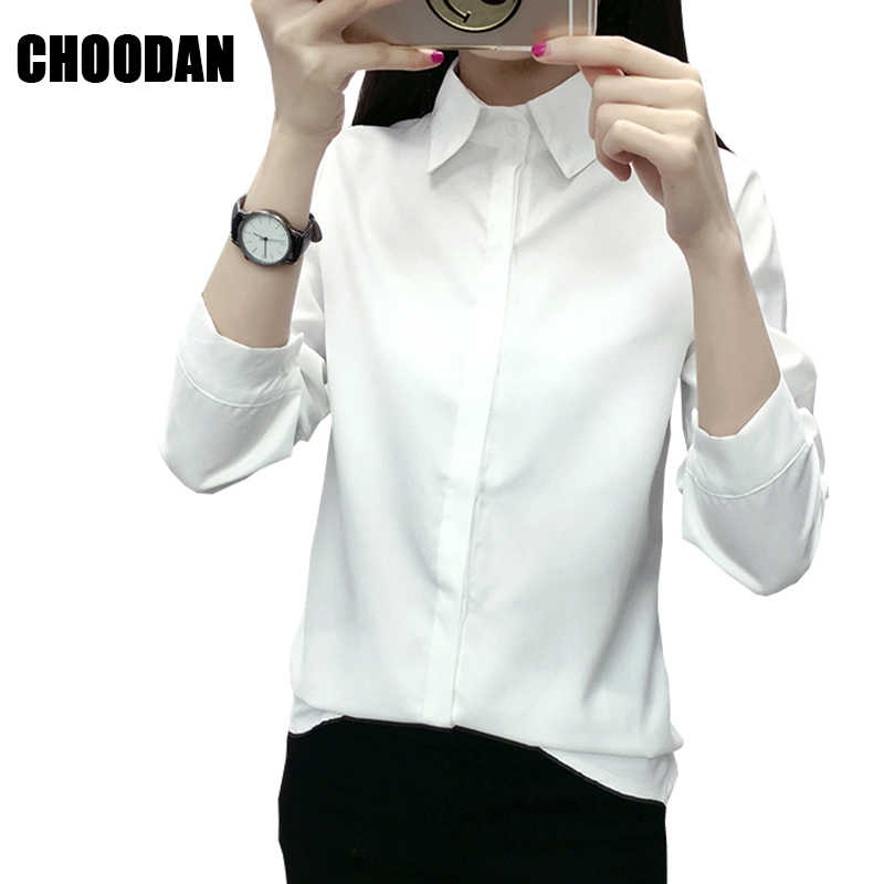 34d69e3c4ed1 Белая блузка рубашка женская с длинным рукавом Топы Новая мода 2018 весна  лето стиль корейский однотонный