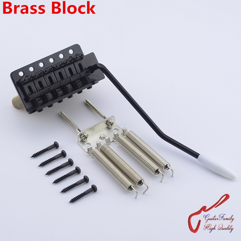 1 Set GuitarFamily  Black Vintage Style Electric Guitar Tremolo System Bridge With Brass Block  ( #1167 ) MADE IN KOREA genuine original floyd rose 5000 series electric guitar tremolo system bridge frt05000 black nickel cosmo without packaging