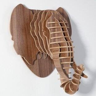 Artisanat d'éléphant, décor de tête d'animaux, bricolage artisanat en bois, décoration intérieure de la maison, articles de nouveauté, bois d'éléphant, décor mural en bois sculpté